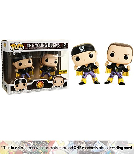Funko The Young Bucks (Hot Topic Exclusive): New Japan Pro-Wrestling x POP! Vinyl Figure + 1 Official WWE Trading Card Bundle [30354] by Funko