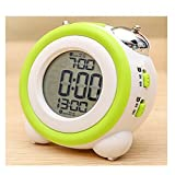 bensonseller Electronic Alarm Clocks Kids' Room Clocks LED Alarm Clock Bed Light Clock Simple LED Cute Mini Portable Alarm Clock Teaches Child When Ok-to Wake Up Kids Alarm (Green)