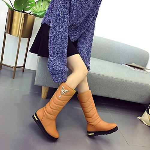 Black Flat Round Comfort Heel HSXZ PU Black Winter for Mid Brown Boots Fall Toe Shoes Casual Boots Women's ZHZNVX Calf 48qxwgC8U