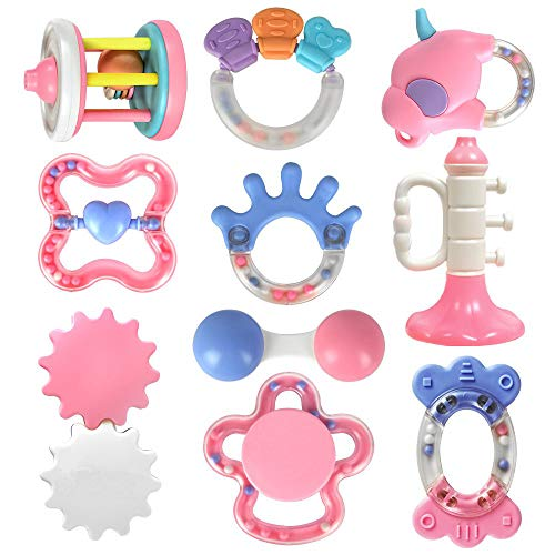 Assorted Fun Baby Rattle Teethers Set, Spin Rattle