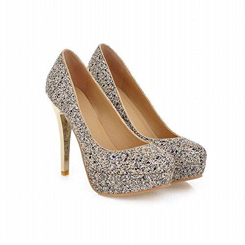Latasa Dames Elegante Pailletten Platform Stiletto Hoge Hak Jurk Pumps Schoenen, Bruids Schoenen Zwart