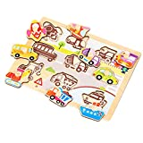 OneCreation Wooden Peg Puzzle Cognitive Hand Grasping Board (Vehicles) 1-6 Years Old Early Educational Toys Puzzle