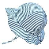 Twinklebelle Toddler Boys Kids Breathable Sun Hats 50 UPF, Hat Size Adjustable, Neck Strap (L: 2-12Y, Floppy Hat: Blue Stripes)