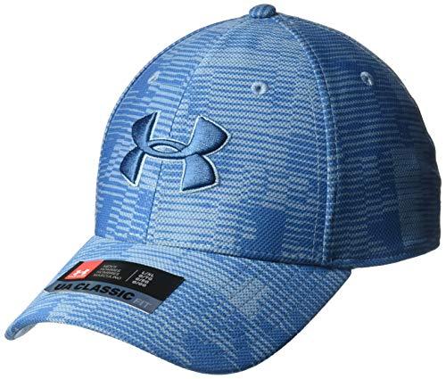 (Under Armour Men's Printed Blitzing 3.0 Stretch Fit Cap, Thunder//Petrol Blue, Medium/Large)