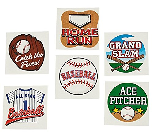 144 Fun Baseball Temporary Tattoos (1 Gross) / Party Favors / Gift / Giveaway /Stocking Stuffer ()