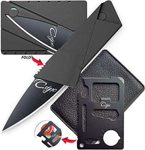 Unique Gifts Set for Men Beer Bottle Opener Credit Card Size Multitool and Knife Perfect Fits in Husband Boyfriend Father Wallet Gifts for Him (Black set of 2 Items) (Beer Packages For Gifts)