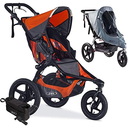 BOB Revolution PRO Jogging Stroller with Handlebar Console, Tire Pump and Weather Shield Bundle – Canyon