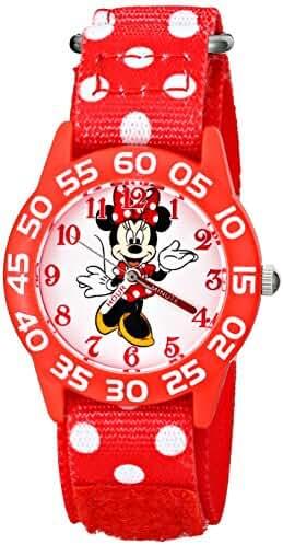 Disney Kids' W001665 Minnie Mouse Plastic Case watch, Printed Stretch Nylon Strap, Analog Display,  Red Watch