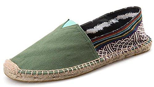 Idifu Donna Uomo Paio Slip On Canvas Espadrillas Flats Shoes Green