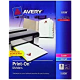 Avery Print-On Dividers, 8 Tabs, White, Laser/Ink Jet, 1 Pack (11528)