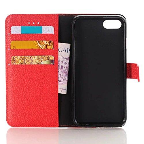 JIALUN-carcasa de telefono Funda iPhone 7, Patrón de Litchi de alta calidad Funda de cuero PU Funda de la caja de la carpeta de Color sólido Flip Funda del soporte para Appple iPhone 7 ( Color : Red , Red