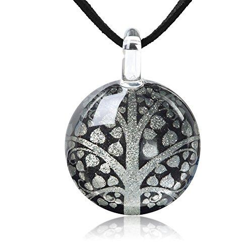 Chuvora Hand Blown Glass Jewelry Buddhism Bodhi Tree Golden Silver Grey Pendant Necklace, 17-20