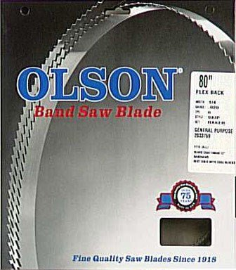 Olson Saw WB56380DB 1/4 by 0.20-Inch 6 TPI Hook Wood Band Saw Blade by OLSON SAW
