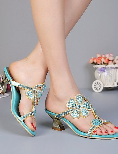 champagne Heels Champagne Casual Evening Slippers Chunky Dress amp; Women's Shoes Heel Party Sandals Blue Leather ShangYi wfpXZqU6n