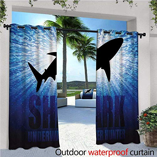 homehot Shark Fashions Drape Underwater Hunter Phrase Fish Silhouette in The Ocean Danger in Marine Picture Outdoor Curtain Waterproof Rustproof Grommet Drape W96 x L96 Royal Blue Black ()
