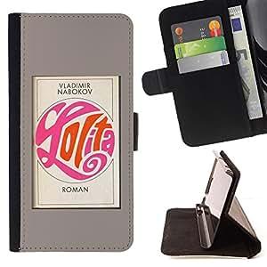 BullDog Case - FOR/HTC One M7 / - / LOLITA POSTER BOOK GREY CALLIGRAPHY READ /- Monedero de cuero de la PU Llevar cubierta de la caja con el ID Credit Card Slots Flip funda de cuer