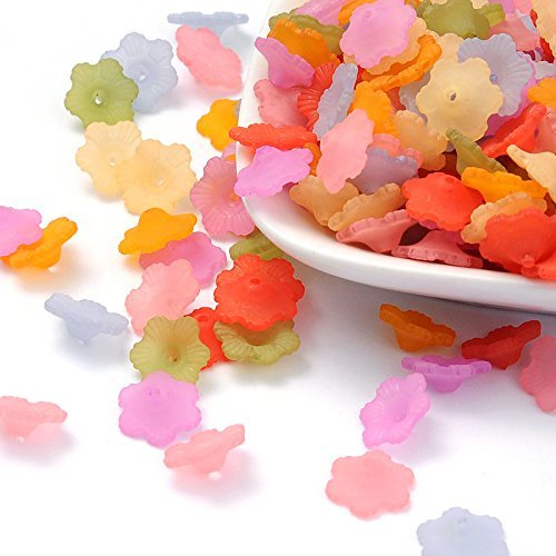 190pc Small Mini Daisy Frosted Acrylic Flower Beads - Multicolor 11mm (Assorted) - Multi Color Lucite Bead