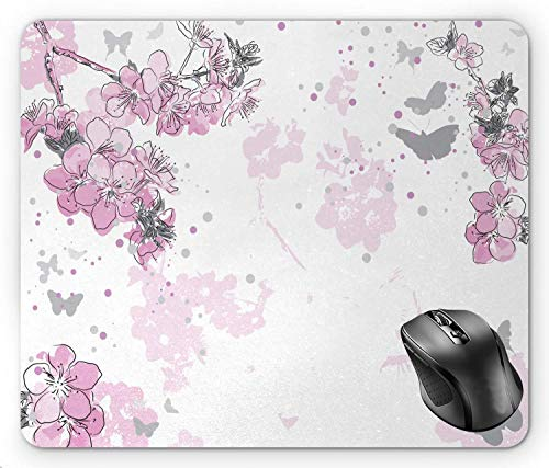 (BGLKCS Almond Blossom Paint Splashes Background with Outline Style Spring Flower Composition, Pink and Black Mouse Pad 8.6 X 7.1 in)