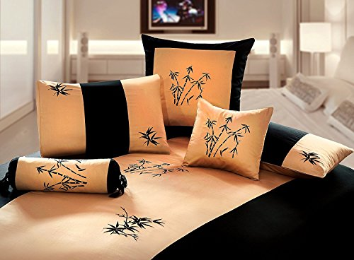 Orient Sense Gold and Black King 3 Piece Zen Garden Embroidered Oriental Bamboo Style Design 100% Cotton Sateen Duvet Cover Set