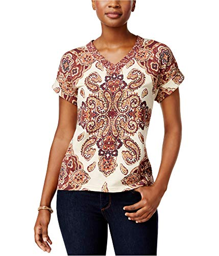 (Style & Co. Printed Cuffed-Sleeve Top (Tile Vision Creme, M))