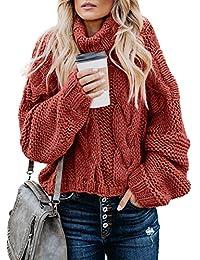 Women Solid Turtleneck Balloon Long Sleeve Sweaters Pullover Outerwear
