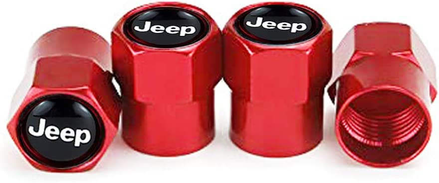 GO-UPP 4pcs Metal Jeep Logo Tyre Valve Stem Caps Air Tire Wheel Covers For Jeep Series Chrysler Grand Cherokee Wrangler Compass Cherokee Renegade Patriot Grand Car Styling Decoration Accessories