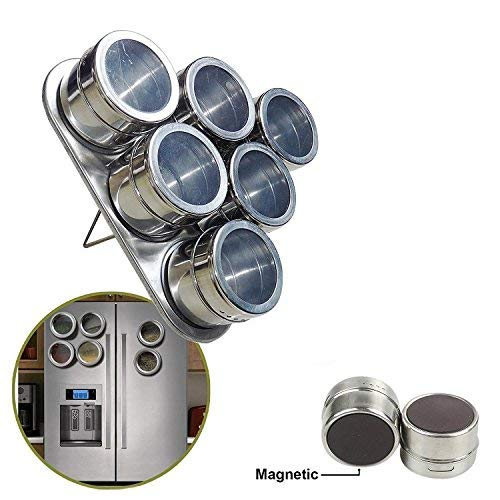 Zebra Stainless Steel Magnetic Spice Tins Set Round Storage Containers, Sift and Pour, Great for Salt, Pepper, Herbs or Seasonings, Silver-6 Pieces (Triangle)