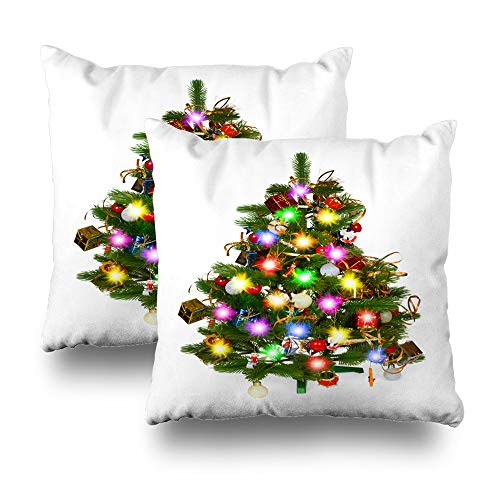 """Darkchocl Set of 2 Daily Decoration Throw Pillow Covers Christmas Tree White Christmas Tree Ball Square Pillowcase Cushion for Couch Sofa or Bed Modern Quality Design Cotton and Polyester 18"""" x 18"""""""