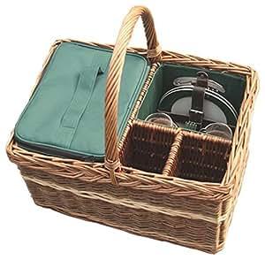 Rojo Hamper wh013g/Home familia Equipada Cesta de picnic, marrón, 30x 45x 24cm)