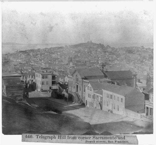 Photo: Telegraph Hill from corner Sacramento,Powell Streets,San - Ca San Powell Francisco Street