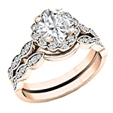 14K Rose Gold 5.5 MM Cushion Lab Created White Sapphire & Round Diamond Ladies Ring Set (Size 7)