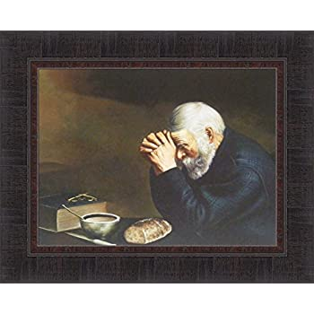 Amazoncom Art Prints Inc Daily Bread Man Praying At Dinner Table