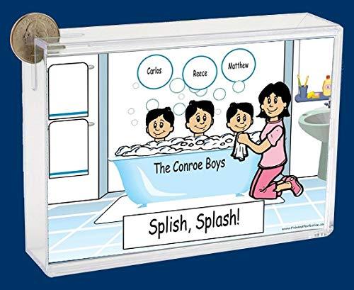 Personalized NTT Cartoon Side Slide Frame Gift: Bath Time Mom 3 Boys Gift, Family Gift, Single mom