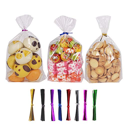 200 Treat Bags Cello Bags Gusseted Plastic OPP Bags (6'' x 9'') - 1.4 mils Thickness With 300 Twist Ties by ZMYBCPACK