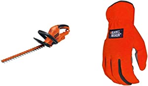 BLACK+DECKER Hedge Trimmer with Saw, 20-Inch with Easy-Fit All Purpose Glove (BEHTS300 & BD505L)