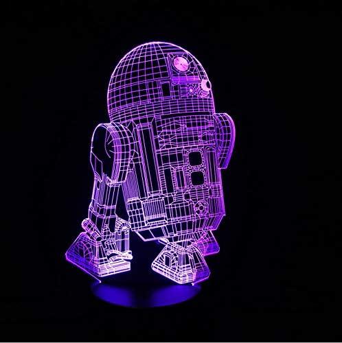 Luz De Noche Robot 3D Vision Led Luz De Noche 7 Colores: Amazon.es ...