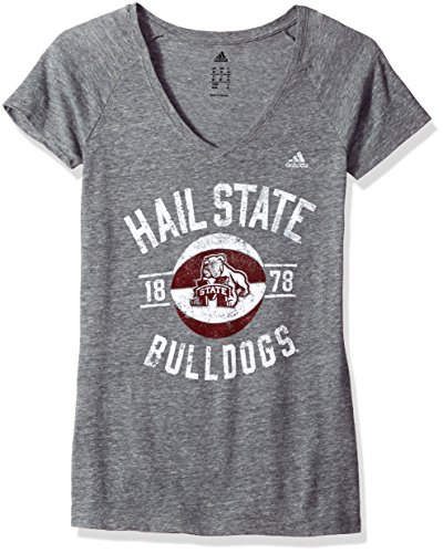 adidas NCAA Mississippi State Bulldogs Womens Middle Basketball Tri-Blend V-Neck Teemiddle Basketball Tri-Blend V-Neck Tee, Dark Gray Heather, Small