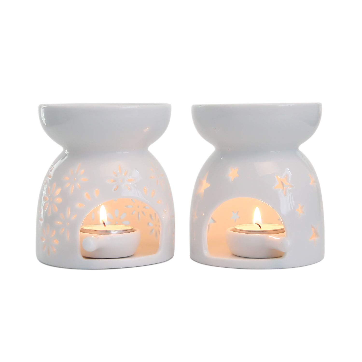 Mucihom Ceramic Tea Light Candle Holder Oil Burner, Essential Oil Incense Aroma Diffuser Furnace Home Decoration Romantic Gift White Set of 2 by Mucihom