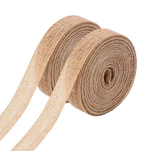 Home Fabric Decor (Pangda 2 Rolls Natural Burlap Fabric Ribbon Roll for Wedding Events Party and Home Decor, 10 Meters Each Roll)