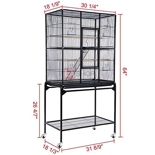Chinchillas Parrot Large Bird Flight Cage Stands Powder-Coated Black Overall Size 64