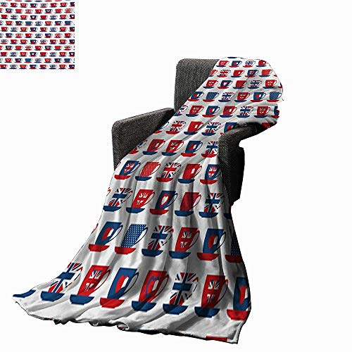 Anyangeight Tea Party Throw Blanket Great Britain Themed Teacup Forms Patterned Union Jack Hearts Flags,Super Soft and Comfortable,Suitable for Sofas,Chairs,beds