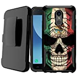 Untouchble Case for LG Stylo 4, LG Q Stylus, LG Stylus 4, LG Stylo 4 Plus Case [Max Alpha Holster] Dual Layer Hybrid Belt Clip Kickstand Case - Mexico Skull Flag