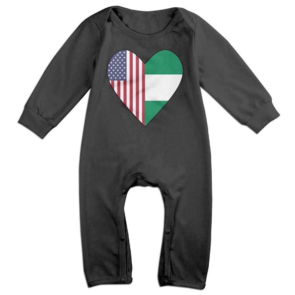 Half Nigerian Flag Half USA Flag Love Heart Long Sleeve Newborn Baby Romper Jumpsuit Onsies for 6-24 Months Bodysuit