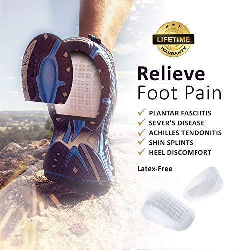 Tuli's Heavy Duty Gel Heel Cup (2-Pairs), TuliGEL Shock Absorption Cushion Insert for Plantar Fasciitis, Sever's Disease and Heel Pain Relief, Regular