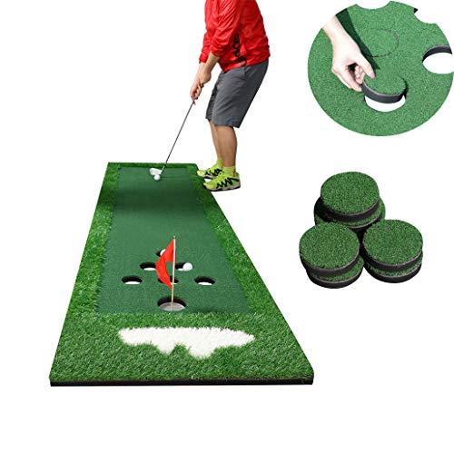 SPRAWL Indoor Portable Golf Putting Green Practice Mat Beer Pong Game - Adjustable Slope - Hill Pattern Seven Holes - 2.1 ft x 9.5 ft