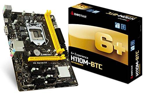 Biostar H110M-BTC Core i7/i5/i3 LGA1151 Intel H110 DDR4 SATA PCI Express USB Micro ATX (Motherboard Pentium Pcie)