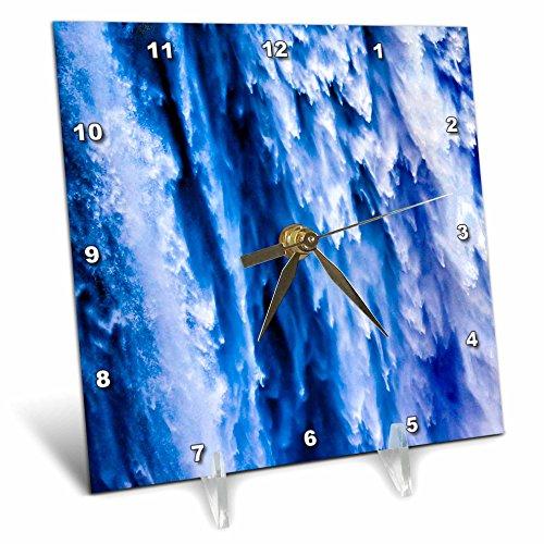 Washington State Desk Clock - 3dRose Danita Delimont - Waterfalls - Gushing Snoqualmie Waterfall Creates Amazing Shapes, Washington State - 6x6 Desk Clock (dc_257755_1)