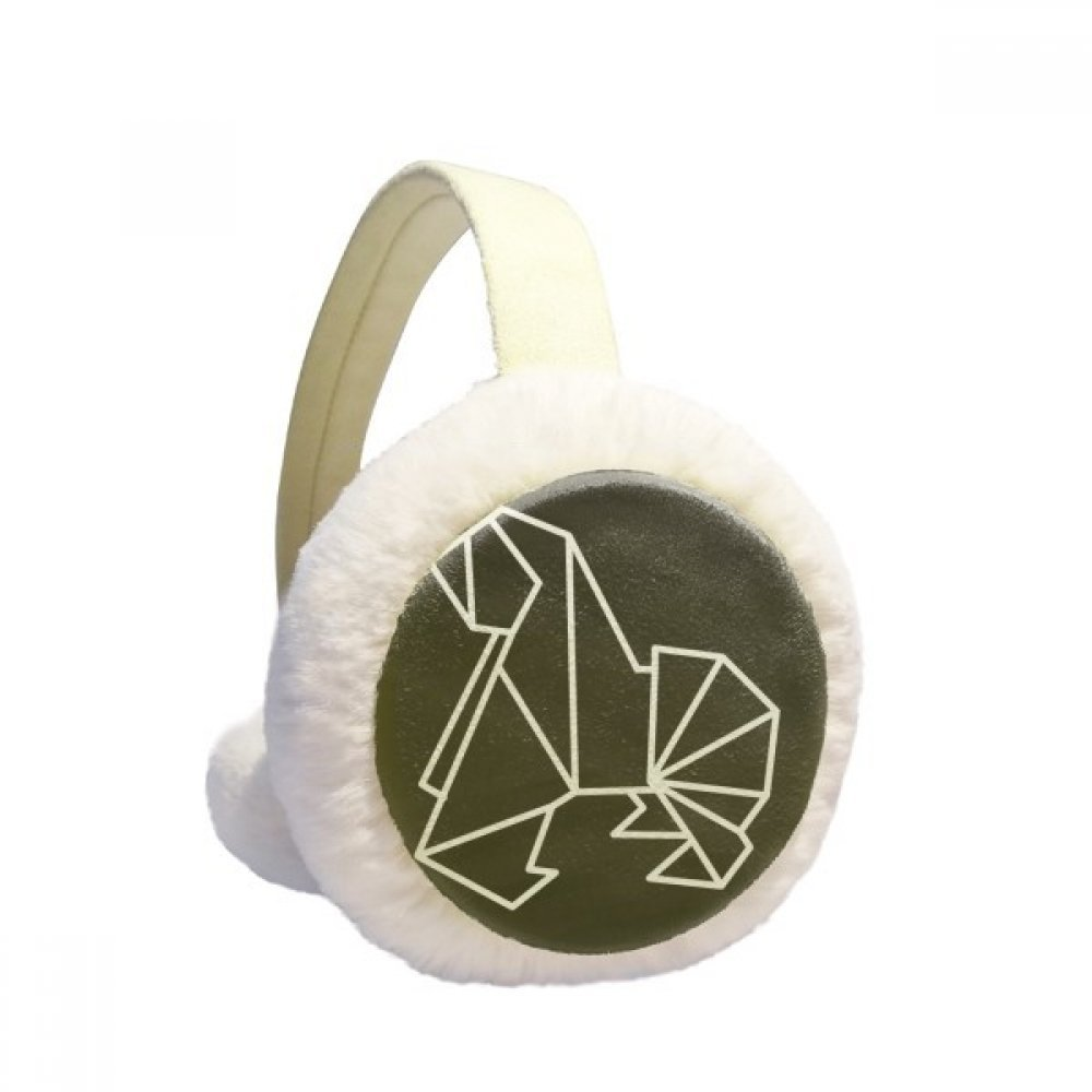 Abstract Origami Dog Geometric Shape Winter Earmuffs Ear Warmers Faux Fur Foldable Plush Outdoor Gift