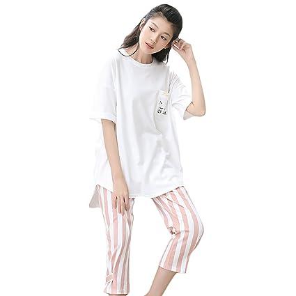 Gato de dibujos animados camiseta pantalones a rayas pijamas casa ropa de dos piezas (Color