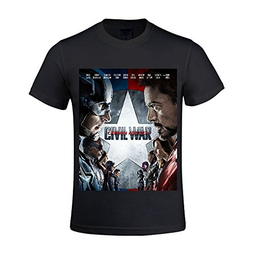 Teams Vs Civil War Poster Graphic T Shirts For Mens Round Neck Black